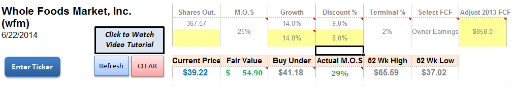 WFM Discounted Cash Flow Valuation